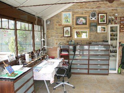 Visite atelier d'aquarelle, salle d'exposition, stage d'aquarelle
